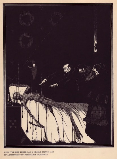An illustration for the story The Facts in the Case of M. Valdemar by the author Edgar Allan Poe