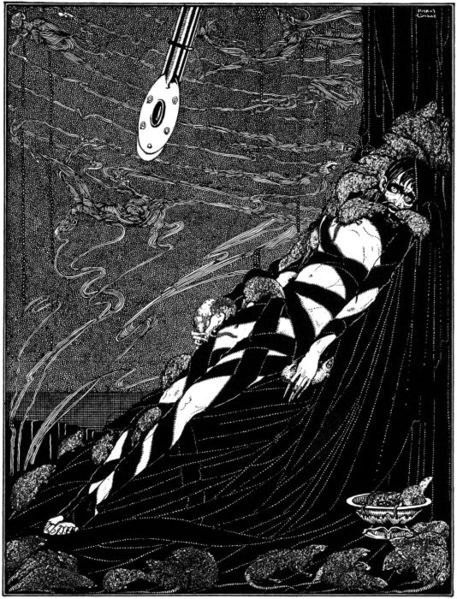 An illustration for the story The Pit and the Pendulum by the author Edgar Allan Poe